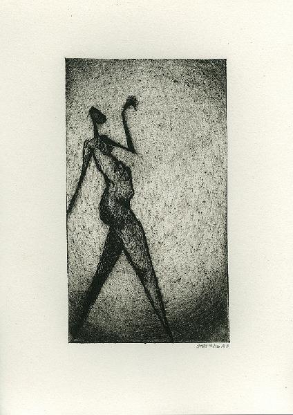 Aleen dansen, ets en aquatint, 16,5 × 9,5 cm oplage 10