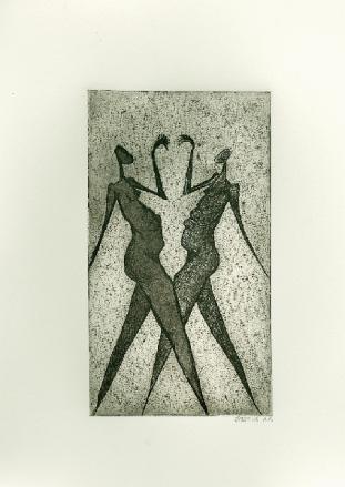Samen dansen, ets en aquatint, 16,5 × 9,5 cm, oplage 6 a