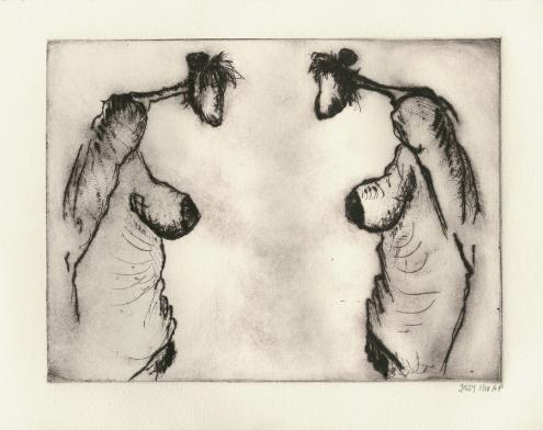 'Twee dames', droge naald, 14 × 19 cm, oplage 10