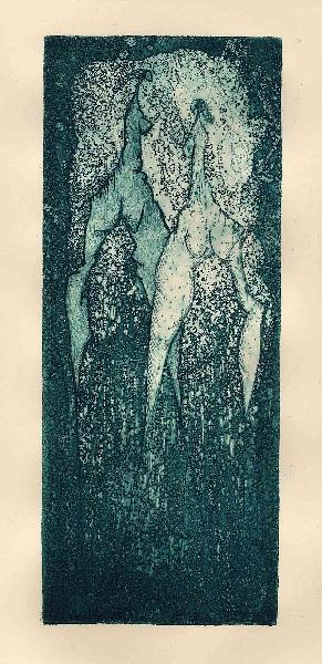 Twee vrouwen, ets, 10 × 25 cm, oplage 9
